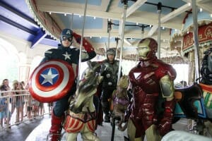 Captain America, Iron Man, and Thor, Arrive At Kings island!