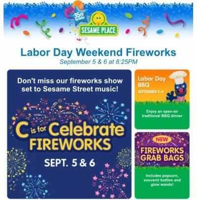 Sesame Place Hosting BBQ & Fireworks Event Labor Day Weekend