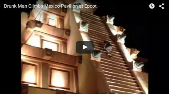 Drunk Climbs Mexico Pyramid at Epcot Disney