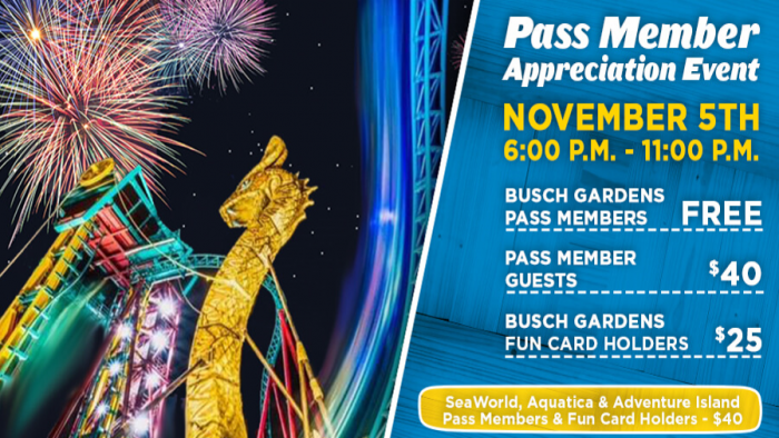 Busch Gardens Announces Annual Pass Offers and Pass Member Event