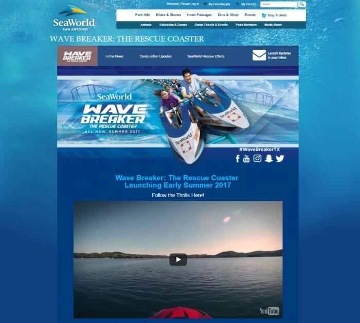 SeaWorld San Antonio Launches All-New Wave Breaker Site