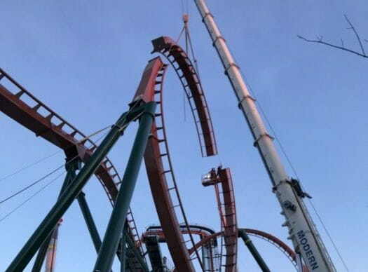 Canada's Wonderland Installs Final Pieces Of Yukon Striker Dive Coaster
